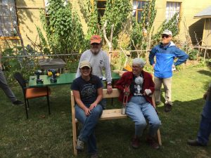 Volunteers Pamela Murphy, Herb Tracy and Patrick Muckelroy and Preserve Manager, Carrie Clendaniel are all smiles, relaxing after hard work.