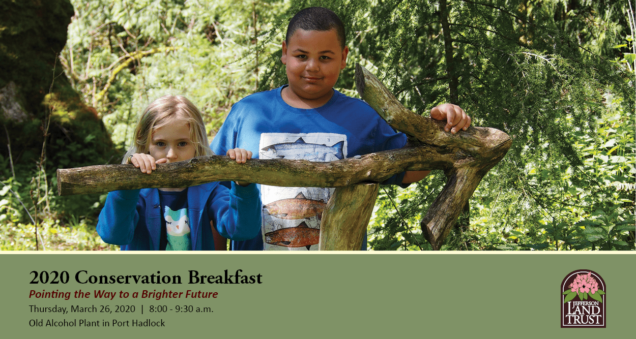 Conservation Breakfast Invitation - Two children stand behind a wooden arrow, event details and Jefferson Land Trust logo are below