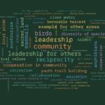 "Word cloud of multi-colored text on a dark green background with the words ""community,"" ""leadership"" and ""reciprocity"" largest and at the center."