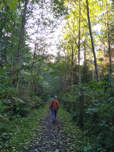 Photo of Paul Becker on a walk at Quimper West Preserve.