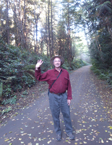 Photo of Paul Becker waving at Fort Worden.