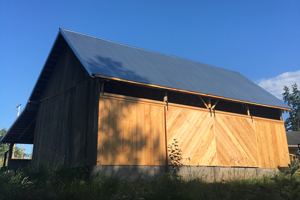 Photo of a local barn recently re-sided using Douglas fir.