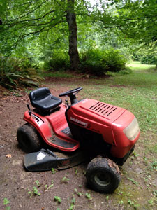 Image of a red riding mower.